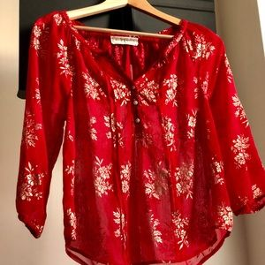 Abercrombie red Striking Blouse